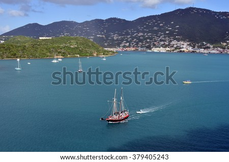 Sailing ship near Saint Thomas, US Virgin Islands