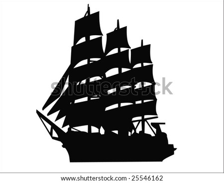 sailing ship silhouette - stock photo