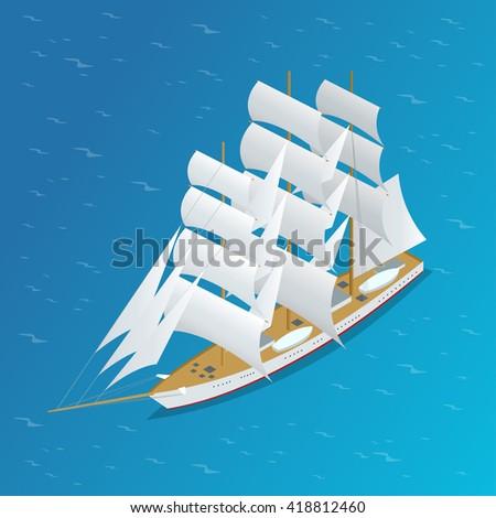 Sailing ship. Snow-white sails of the ship. Flat 3d isometric illustration - stock photo