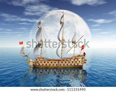 Sailing Ship with Moon Computer generated 3D illustration