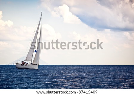 Sailing ship yacht on the turn - stock photo