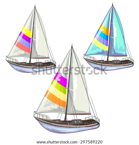 Sailing ship yachts over white background - stock photo