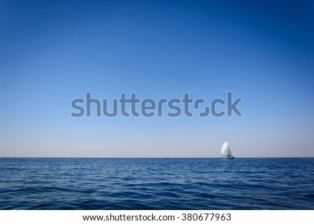 Sailing. Ship yachts with sails in the open Sea. 4