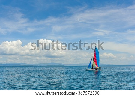 Sailing ship yachts with sails on the Sea. - stock photo