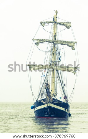 Sailing ships on the sea front Coastline - stock photo