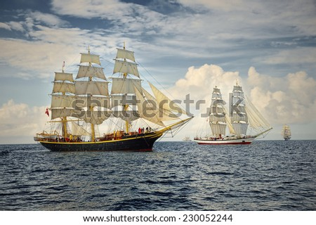 Sailing ships regatta. Seascape. Series of ships and yachts - stock photo