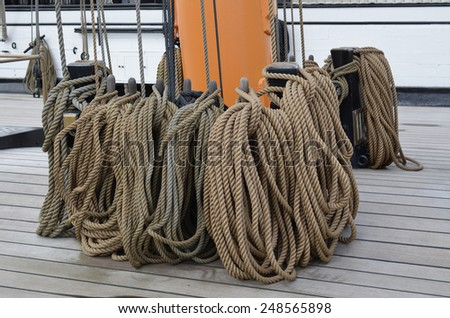 Sailing ships ropes - stock photo