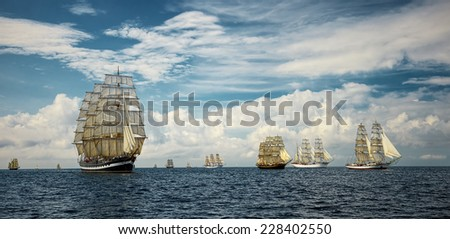 Sailing ships. Seascape. series of ships and yachts - stock photo