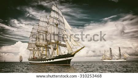 Sailing ships.  Toned image and blur. Retro style postcard. Sailing. Yachting. Travel - stock photo