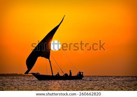 Sailing Sunset - stock photo