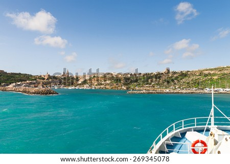 Sailing to port of Mgarr on the small island of Gozo, Malta. - stock photo