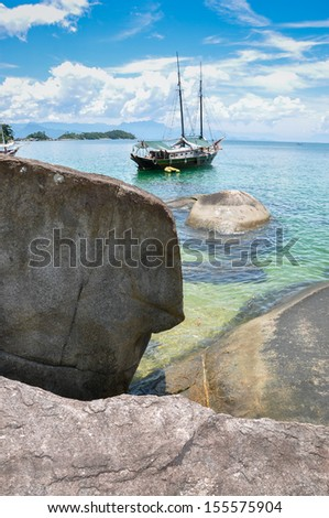 Sailing Trip through Tropical Islands. Rio, Brazil. South America. - stock photo