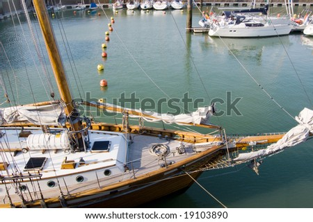 sailing vessel and yachts in Oostende port, Belgium - stock photo