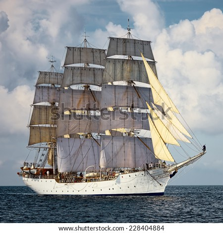 Sailing vessel. Large collection of ships and yachts - stock photo