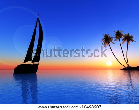 sailing vessel travelling on ocean on a background of beauty sunset and island with palms - stock photo