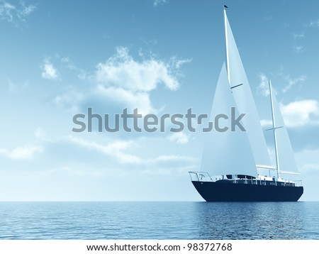 sailing vessel travelling on ocean on a background of the cloudy blue sky - stock photo