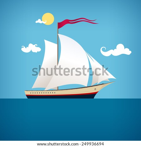 Sailing vessel with a flag in the  blue ocean in a sunny day - stock photo