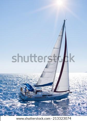 Sailing yacht in Lefkada Greece - stock photo