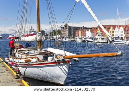 Sailing yacht in the harbor of Bergen. Norway. - stock photo