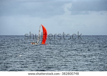 Sailing yacht in the ocean. Yachting and Sailing