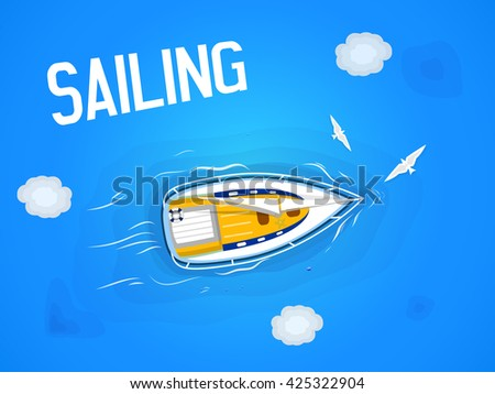 Sailing. Yacht in the sea. Top view through the clouds on a white yacht sailing, floating on the waves of the sea.