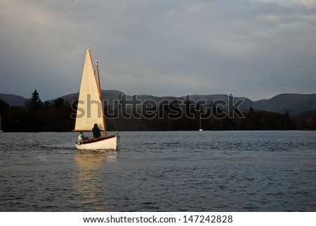 Sailing yacht on a Lake