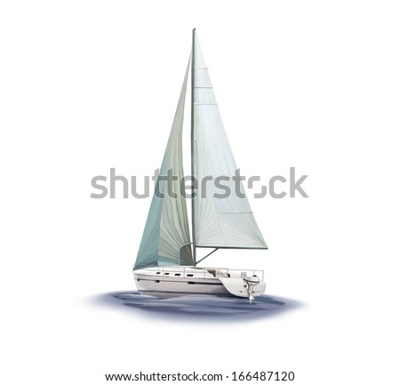 Sailing yacht race, Isolated on white