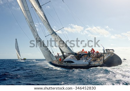 Sailing yacht race. Yachting. Sailing - stock photo