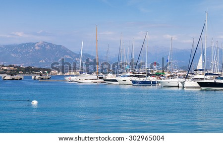 Sailing yachts and motorboats moored in marina of Ajaccio, Corsica island, France