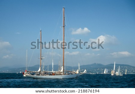 Sailing yachts in the Bay of Saint Tropez, France