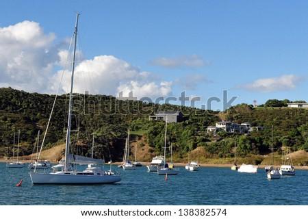 Sailing yachts mooring in Waiheke Island, New Zealand. - stock photo