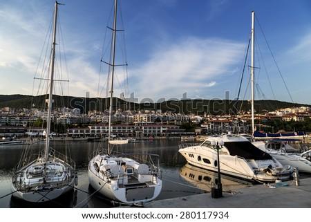 Sailing yachts on the marina - stock photo