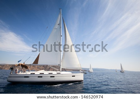 Sailing yachts race in Greece - stock photo