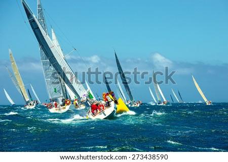 Sailing yachts regatta. Series yachts and ships - stock photo
