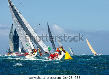 Sailing yachts.  Yachting. Sailing - stock photo