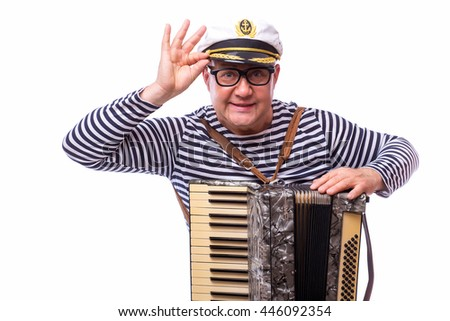 Sailor showman singer with accordion on white back - stock photo