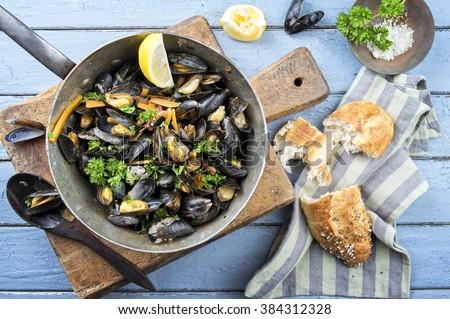 Sailors Mussel in Casserole - stock photo