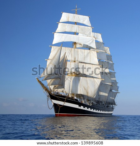 sails of the ship - stock photo