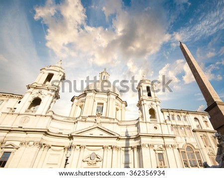 Saint Agnese in Agone in Piazza Navona, Rome, Italy  - stock photo