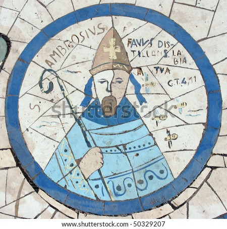 Saint Ambrose, Mosaic in front of the church on the Mount of Beatitudes - stock photo
