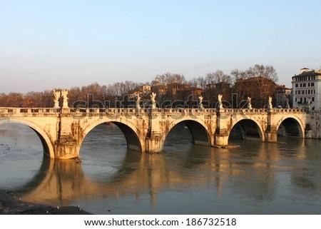 Saint Angel bridge in Rome, Italy - stock photo