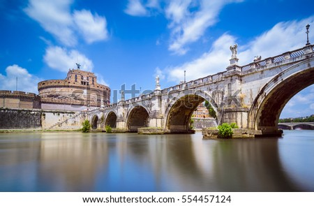 Saint Angel Castle and bridge in Rome, Italy
