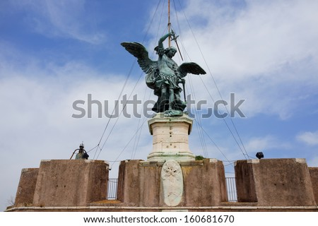 Saint Angel Fortress on Tiber river in Rome, Italy - stock photo