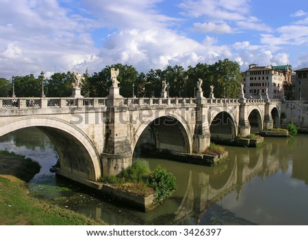 Saint Angelo bridge over the Tiber river. Rome, Italy