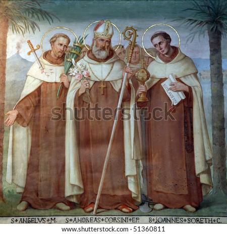 Saint Angelus, Andrew Corsini and Bl. John Soreth, Carmelite Saints, The Church Stella Maris, Haifa, Israel - stock photo