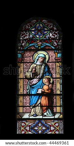 Saint Ann, stained glass in the Cathedral of St Vincent de Paul in Tunis