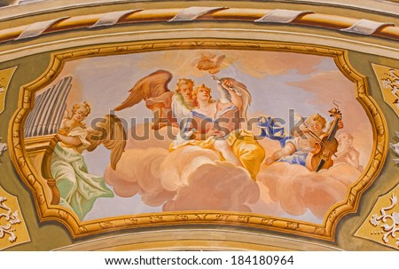 SAINT ANTON, SLOVAKIA - FEBRUARY 26, 2014: Choir of angels fresco from ceiling of chapel in Saint Anton palace by Anton Schmidt from years 1750 - 1752. - stock photo