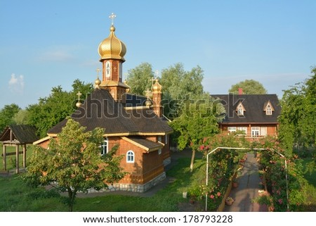 Saint Athanasie Monastery in Danube Delta, at Stipoc - stock photo