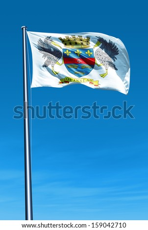 Saint Barthelemy flag waving on the wind