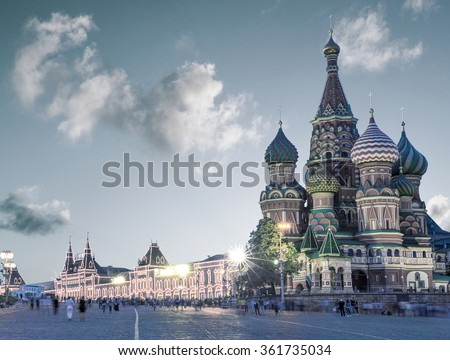 Saint Basil Cathedral on Red Square in Moscow, Russia - stock photo
